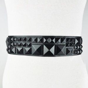 BCBGMaxAzria Accessories - Black Studded Wide Waist Belt